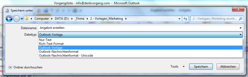 Outlook Aufgabe Vorlage auch für Termine möglich