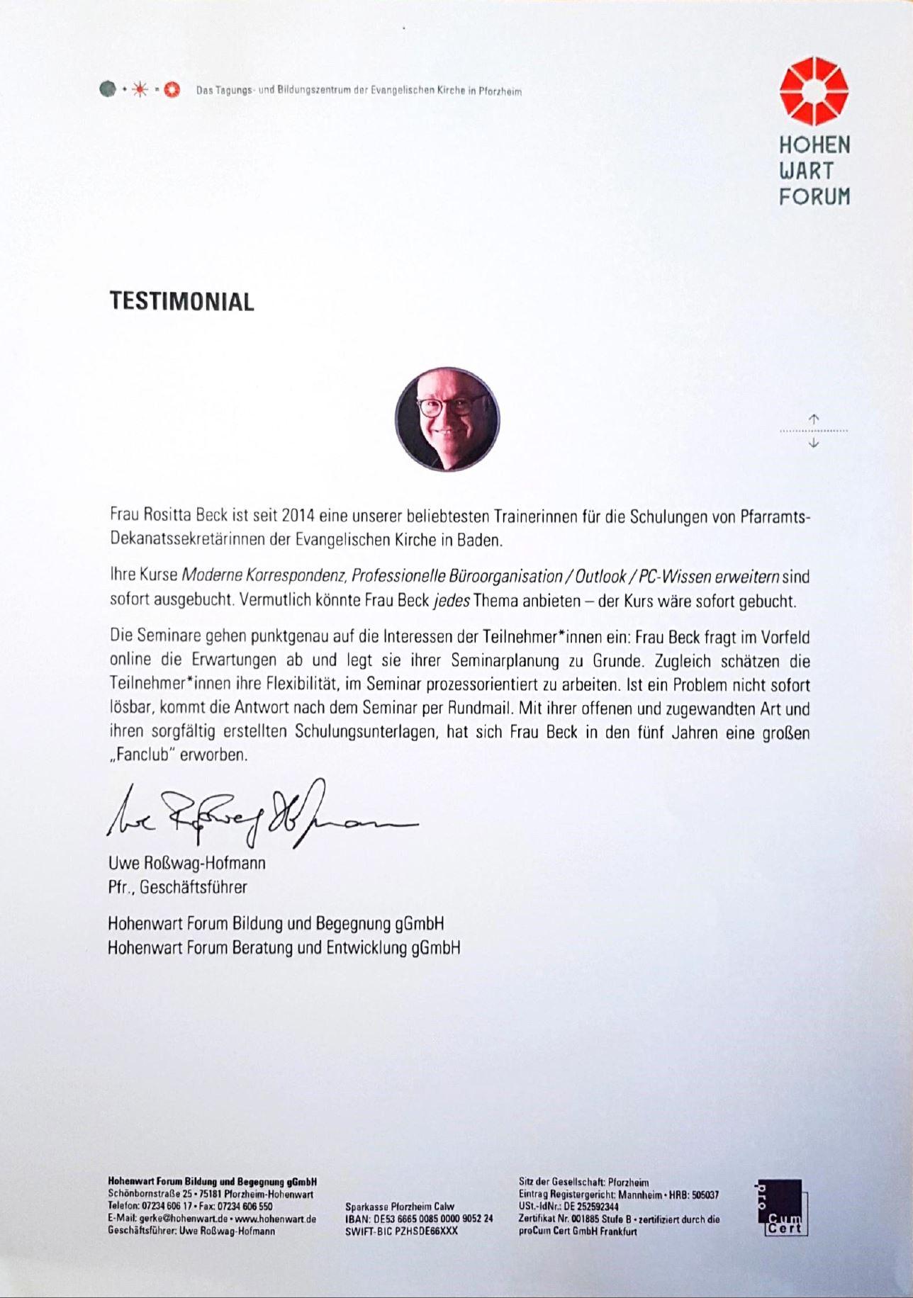 Testimonial Hohenwart Forum