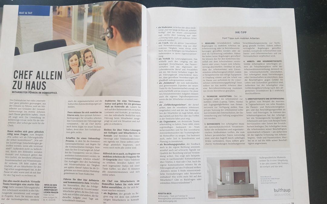Führung vom Home-Office aus: IHK Magazin Wirtschaft